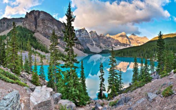 озеро, морейн, ледниковое, банф, находится, парке, канада, красивое, национальном, озера,