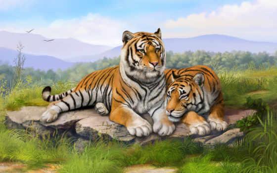 тигр, картинка, фотообои, тигры, online, стену, puzzle, заказать, детёныш, номерам,