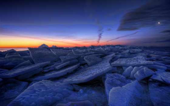sweden, winter, озеро, лед, вечер, льдины, небо,