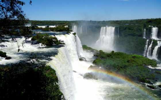 iguaçu, falls, игуасу, радуга, изображение,