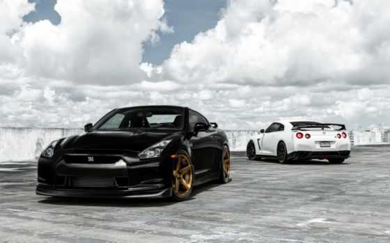 nissan, adv, black, gtr, car, wheels, matte,