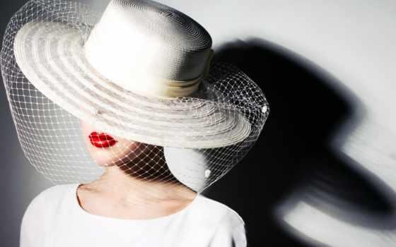 девушка, большой, разных, красной, шляпе, белой, губах, вуалью, помадой,
