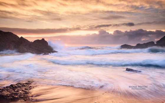 рассвет, море, ирландский, красивый, красивые, waves, скалы, рассвета,