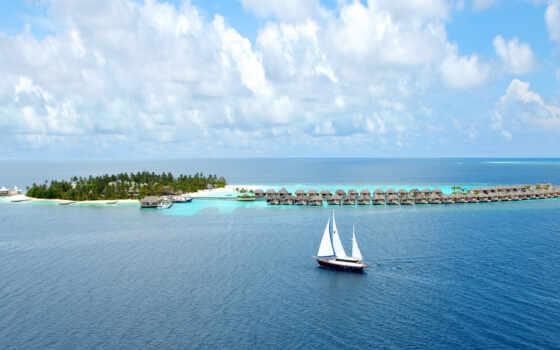 мальдив, море, остров, best, free, уж, корабль, loaded