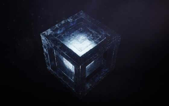 box, dark, digital, кубик, blue, pattern