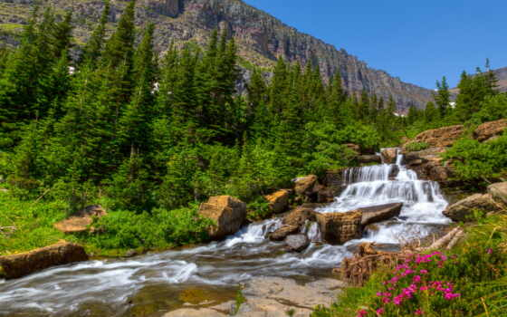 lunch, река, горы, скалы, landscape, desktop, ago, водопад, мб, деревья, цветы,