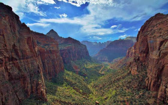 зайон, park, national, каньон, utah, zion, река, virginia,