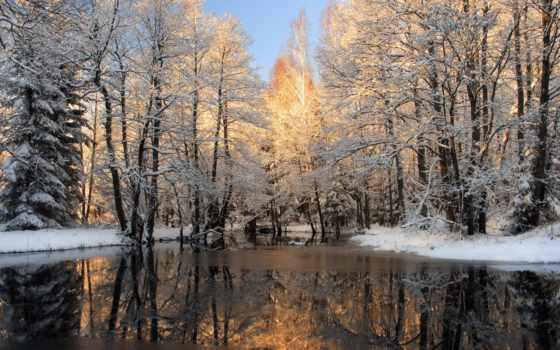 winter, зимой, река, широкоформатные,