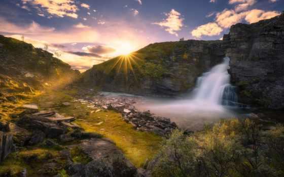 водопад, качественные, norwegian, водопады, rays, фотографий, ringerike, норвегия, солнца, sun, скалы,