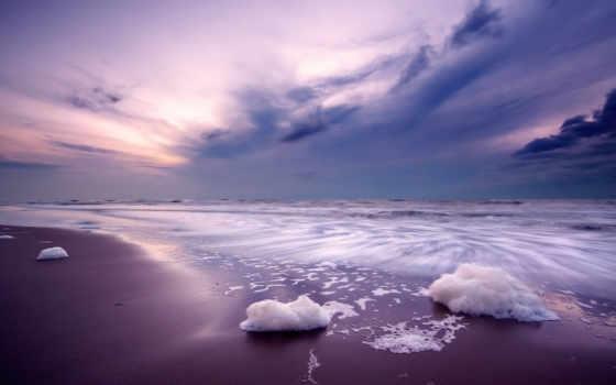 море, закат, песок, разрешения, пенка, высокого, цапли, пляж, категории, пейзажи -,