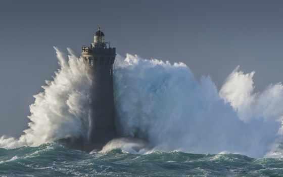 lighthouse, буря, море, волна, waves, брызги, blue,