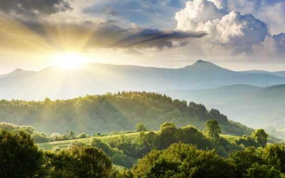 картинка, sun, лес, гора, detailed, fast