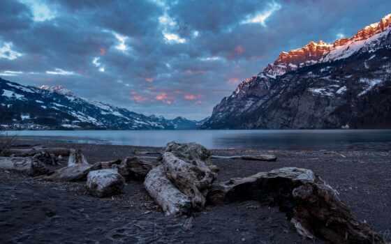 walensee, закат, озеро, гора, облако, швейцария, снег, берег, rock, walenstadt, небо