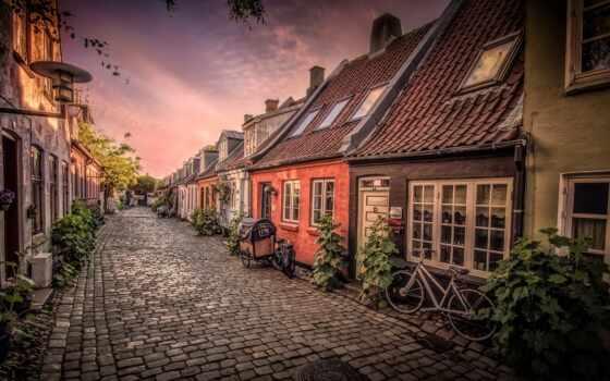 aarhus, denmark, улица, использование, danish, house