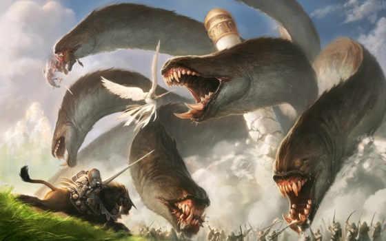 битва, монстр, ангел, башня, люди, арт, chan, гидра, jason, картинка, картинку,