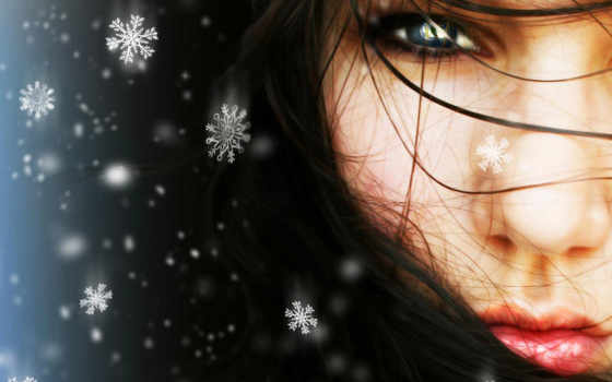 девушка, снег, winter
