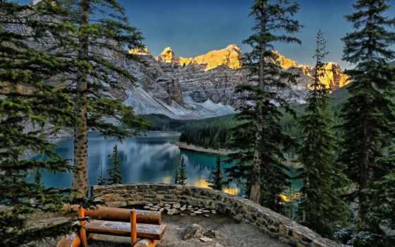 valle, альберта, lago, canadá, picos, banff, diez, montañas, rboles, paisaje, озеро,