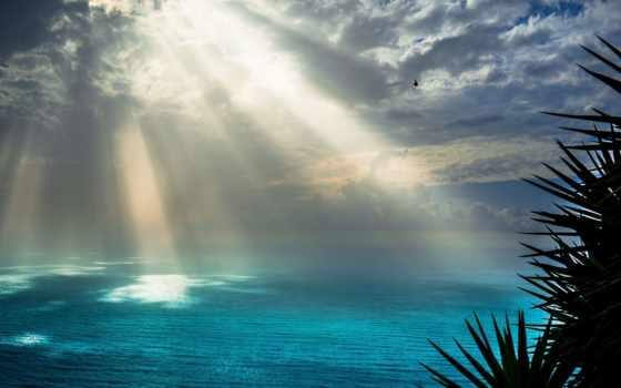 sunrays, rays, красивые, океаном, море, со, природа, небо, облако,