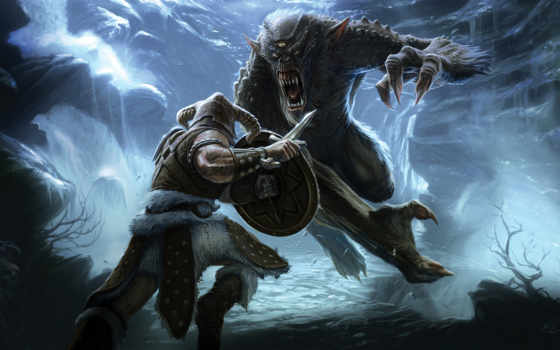 skyrim, elder, scrolls, монстр, битва, воин, игры, xperia, this, свитки, заставки, древние, скайрим, картинка,