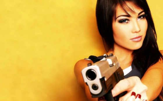 девушка, пистолетом, fone,