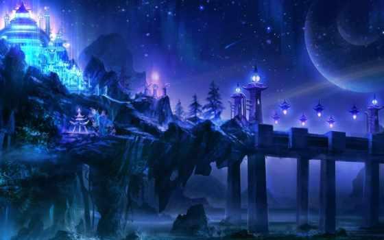 море, art, ночь, мост, камни, храм, огни, waves, скалы,