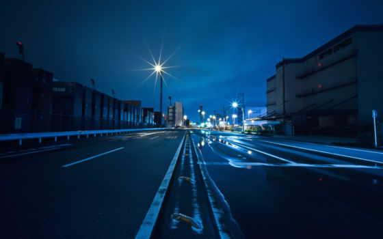 тв, ночь, landscapes, дорога, асфальт, streaks, дома, небо, столбы,