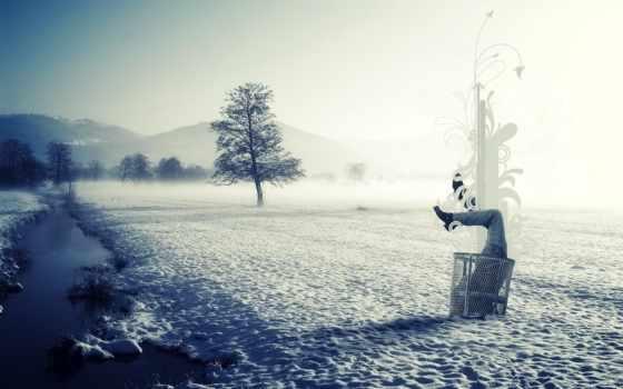 winter, река, снег, лед, сугробе, ноги, half, снегу, тело, природа, туман,