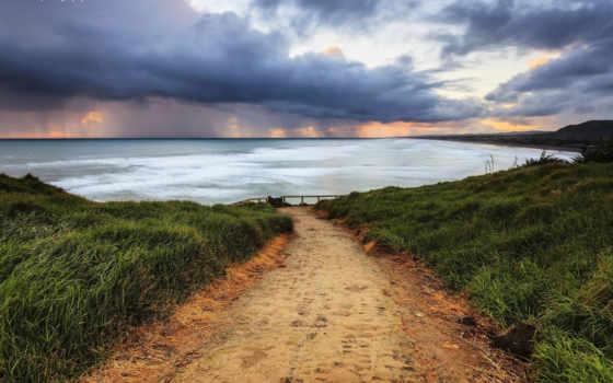 море, закат, небо, дорога, тучи, берег, природа,