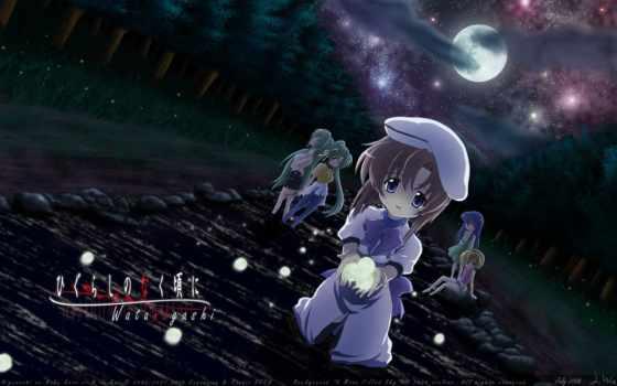 anime, когда, плачут, ночь, луна, higurashi, цикады, naku, koro, ni,