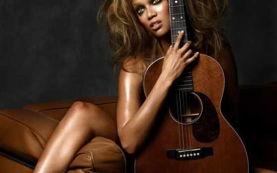 девушка, музыка, красивая, гитара, гитарой,
