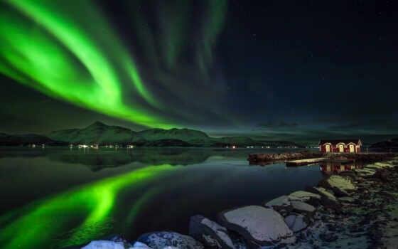 огни, ночь, northern, гора, норвегия, небо, winter, снег, star, scenery