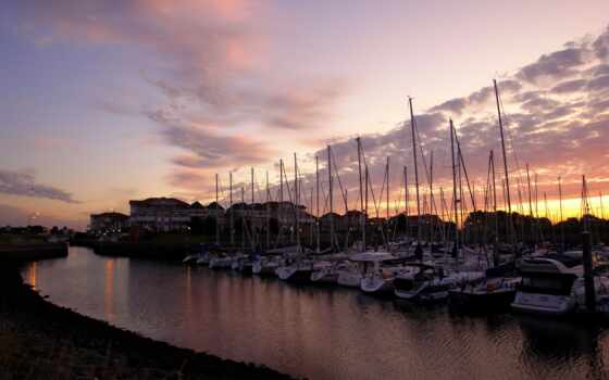 горизонт, even, гавань, сумерки, закат, причал, лодка, zero, озеро, harbor