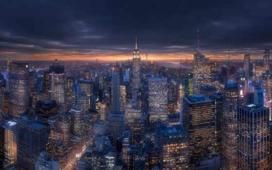 , york, new, unite, сделать, state, art, ночной, skyline, cityscape, usa