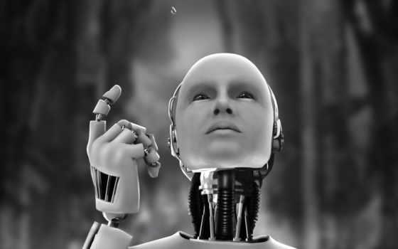 robot black & white