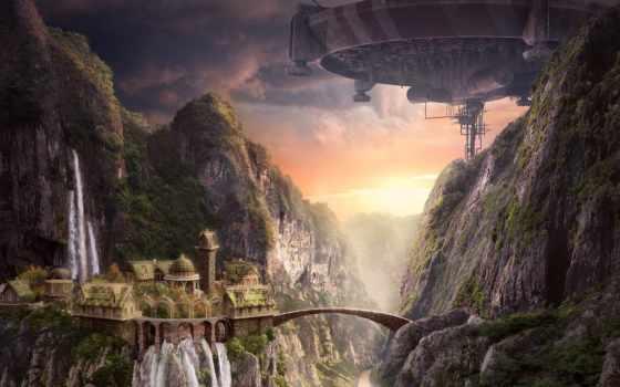 арт, картинку, картинка, закат, корабль, скалы, мост, другие, водопад, замок, akimfimin,