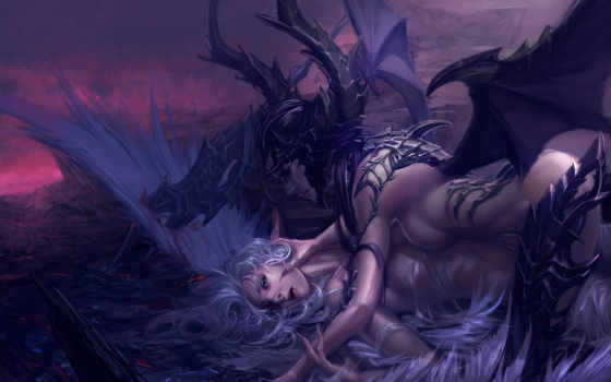angel, демон, крылья, рога, кровь, spear, девушка, когти, art,
