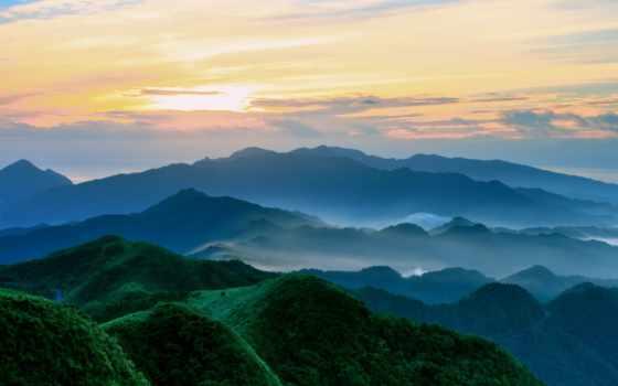 утро, небо, туман, озеро, красивые, холмы, утром, горы, лес, осень, kingdom,