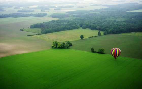 aerial, мяч, воздушные, шары, blue, луг, red, color, yellow,