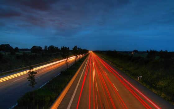 дорога, ночь, огни, звезды, картинка, широкоформатные, ночная, выдержка,