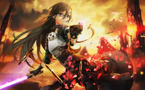 anime, art, меч, девушка, online, horizontal