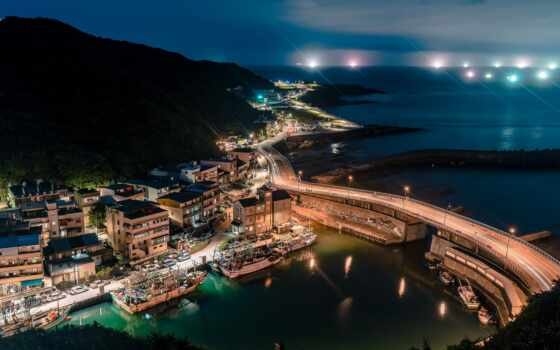 keeling, город, aerial, taiwan, millus, house, мост, nightscape, порт, ночь