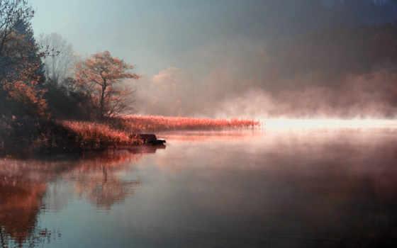 природа, утро, озеро, туман, пар, осень, берег, река,