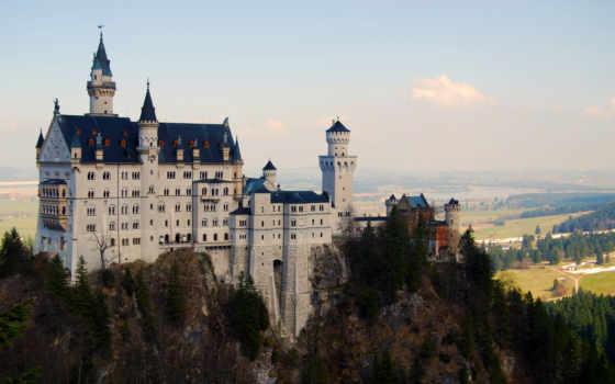 замок, деревья, landscape