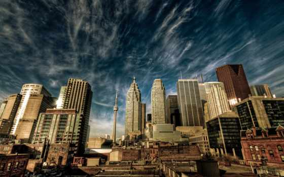 небо, город, oblaka, дома, канада, toronto,
