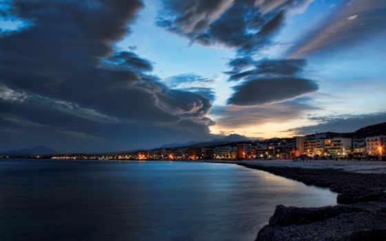 море, ночь, город