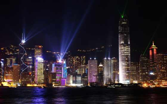 гавань, hong, kong, victoria, ночь,