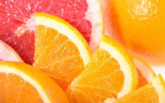 грейпфрут, оранжевый, фрукты