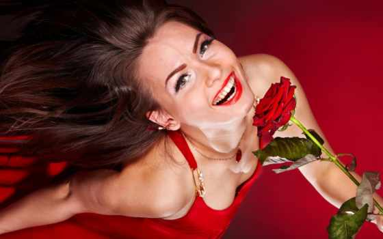 роза, red, stock, цветы, brunette, волосы, букет, detail, portrait, уфа,