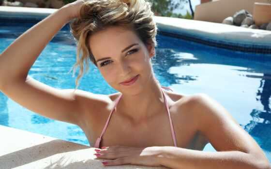 девушка, бассейн, blonde, красивая, улыбка, бассейне, summer,