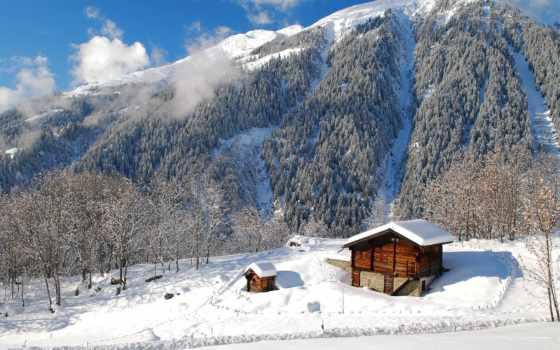 house, горах, winter, горы, зимних, красивый, lodge, взгляд, дома, озеро, домики,